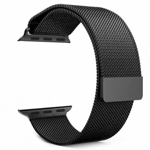 Foto - Milánský tah 42mm černý pro Apple Watch