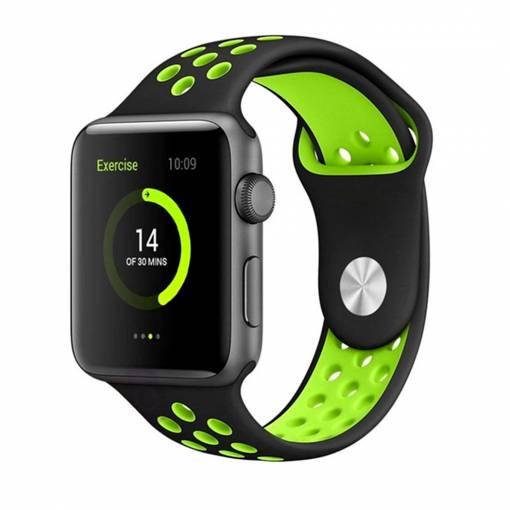 Foto - Sportovní řemínek 42mm černý/zelený pro Apple Watch