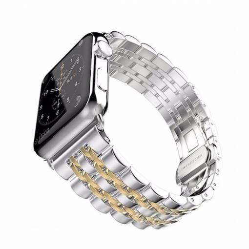 Foto - Kovový řemínek 42mm stříbrný/zlatý pro Apple Watch