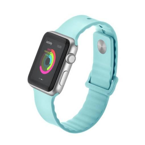 Foto - Silikonový vlnitý řemínek 38mm tyrkysový pro Apple Watch