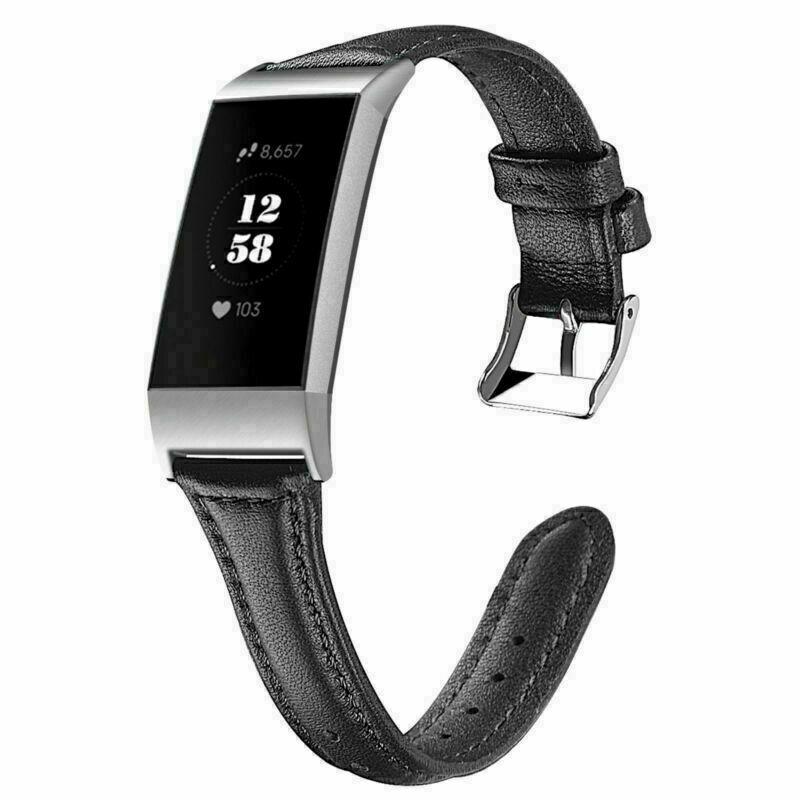 eses Kožený řemínek černý pro Fitbit Charge 3