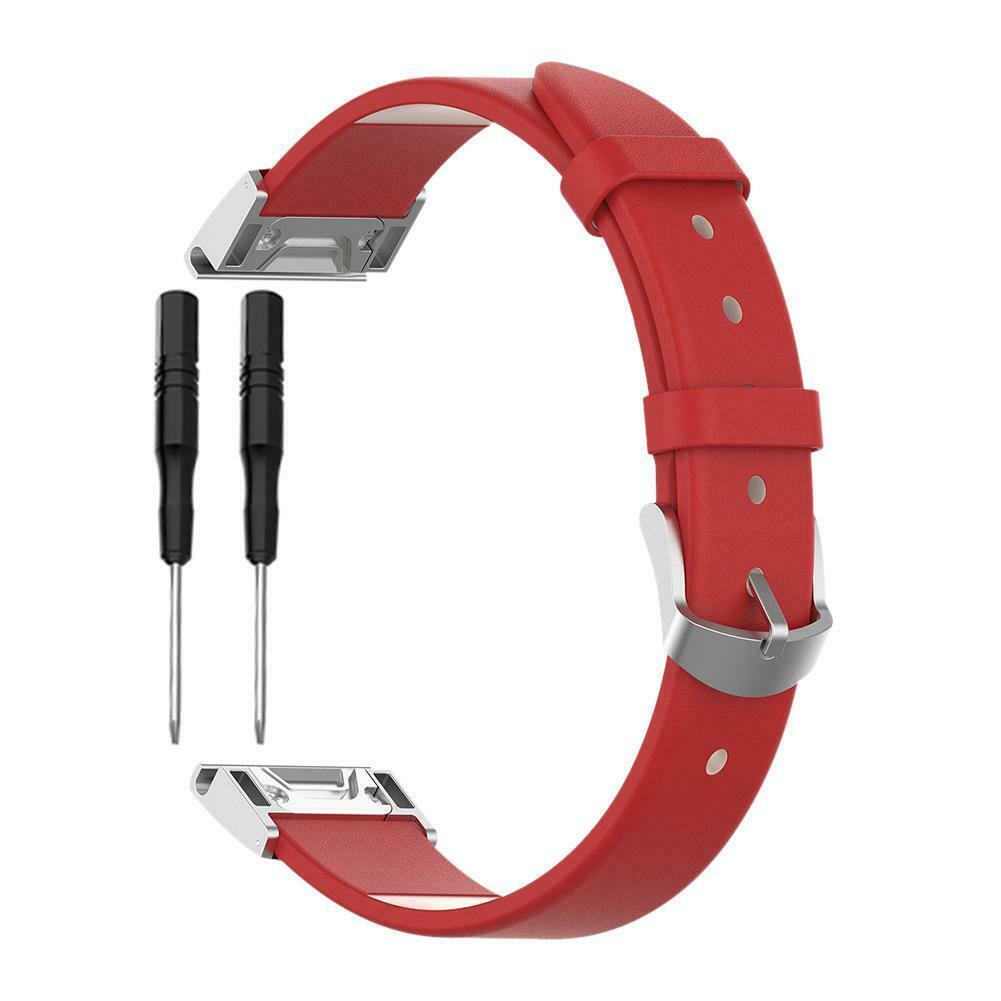eses Kožený řemínek červený pro Garmin - EasyFit/QuickFit 26mm